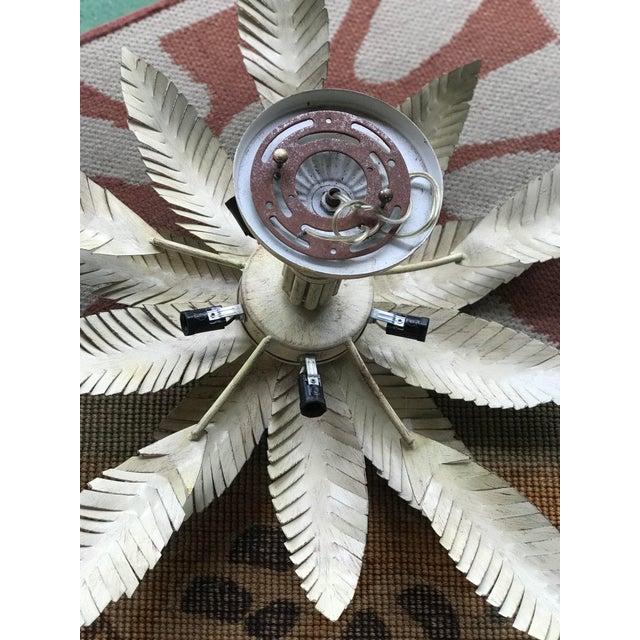 Vintage 1980s Regency Tole Palm Leaf Ceiling Light For Sale - Image 11 of 12