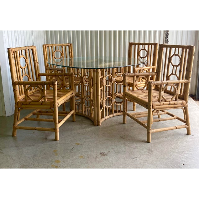 Vintage Medallion Bamboo Dining Table and Chairs - Set of 5 For Sale - Image 10 of 10