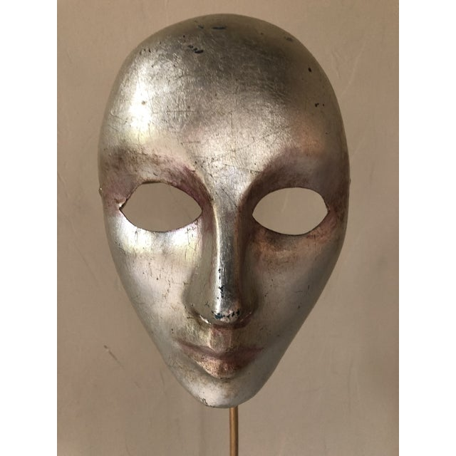 Silver Italian Paper-Maché Mask on Custom Stand For Sale - Image 8 of 9