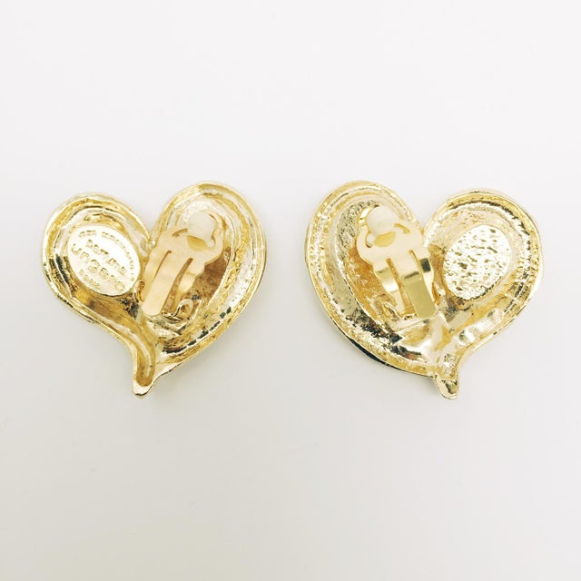 Modern Modernist Haute Couture Heart Earrings. For Sale - Image 3 of 5