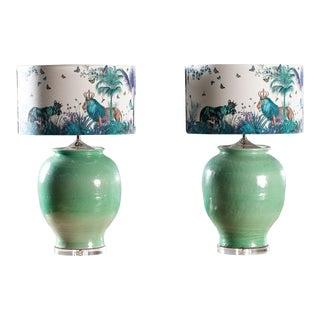 Pair Handmade Turquoise Ceramic Vases Lamps Custom Shades For Sale