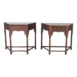 Antique Chinese Rosewood Corner Tables - a Pair
