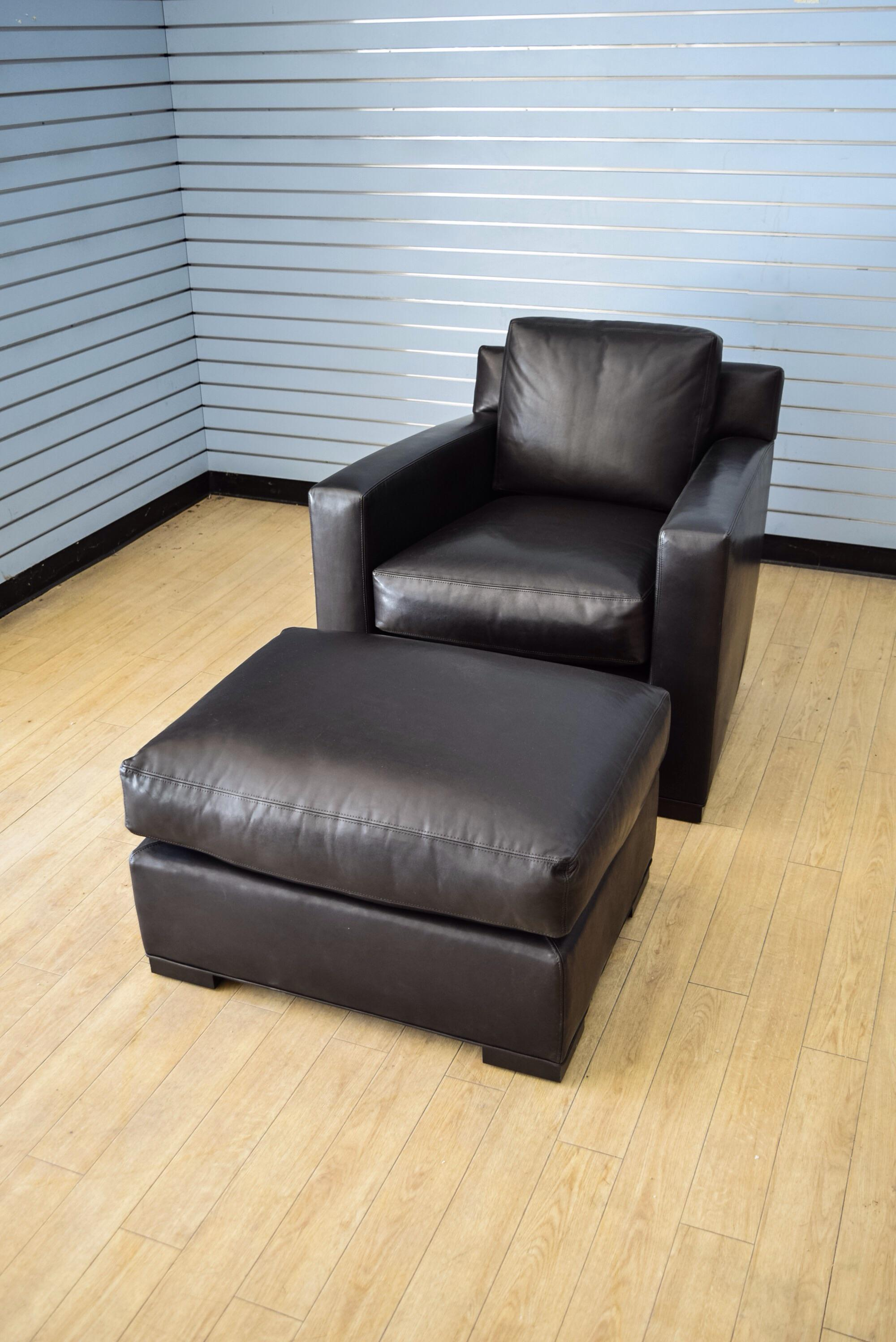 Coach Flatiron Black Leather Club Chair And Ottoman   Image 3 Of 11