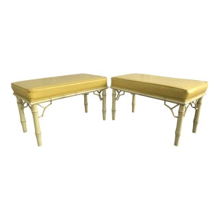 Vintage Mid Century Yellow Faux Bamboo Benches - A Pair For Sale
