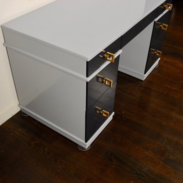 1950s Mid Century Lacquered Double Pedestal Desk For Sale - Image 5 of 10