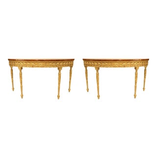 19th Century Georgian Satinwood and Parcel Gilt Demilune Consoles - a Pair For Sale