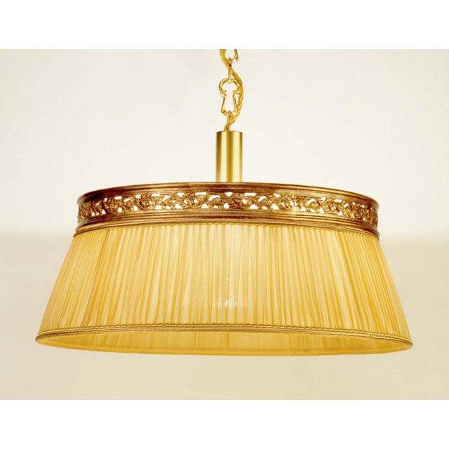 Brass Chandelier Fabric Shade Light - Image 2 of 3