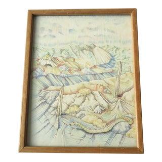 """Donn Folkerts """"Chimney Junction"""" Vintage Color Drawing For Sale"""