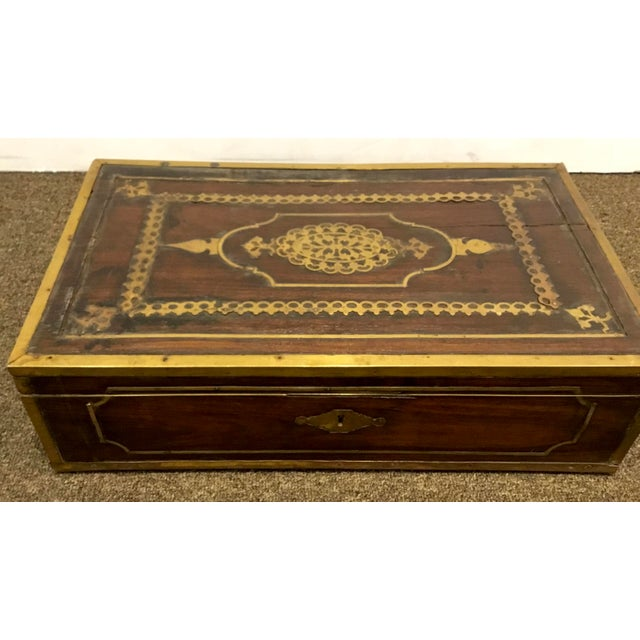 Unique antique English mahogany box with ornate brass inlay, circa, late 1800's