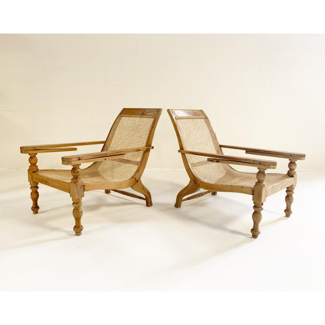 British Colonial Plantation Chairs With Sheepskins, Pair For Sale - Image 10 of 10