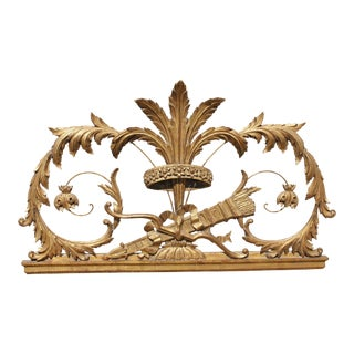 1910s Americana Gold Gilt Wooden & Wire Decorative Wall Piece For Sale