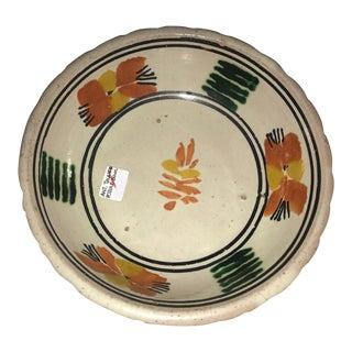 Vintage Mexican Ceramic Pozole Bowl Hand Painted Orange Leaf Flower Design For Sale