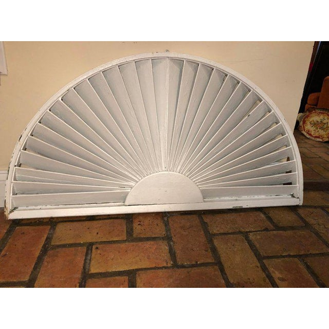 1970s Antique Architectural Demilune Sunburst Window Fragment For Sale - Image 5 of 13