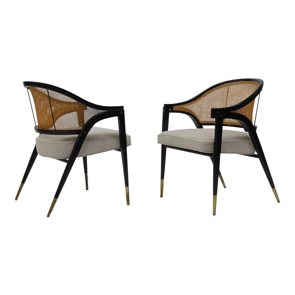High End Caned Back Occasional Chairs By Edward Wormley For Dunbar Decaso