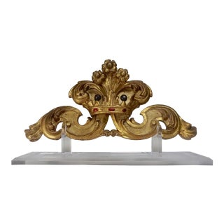 Antique Italian Giltwood Carving With Crown on Lucite Base For Sale