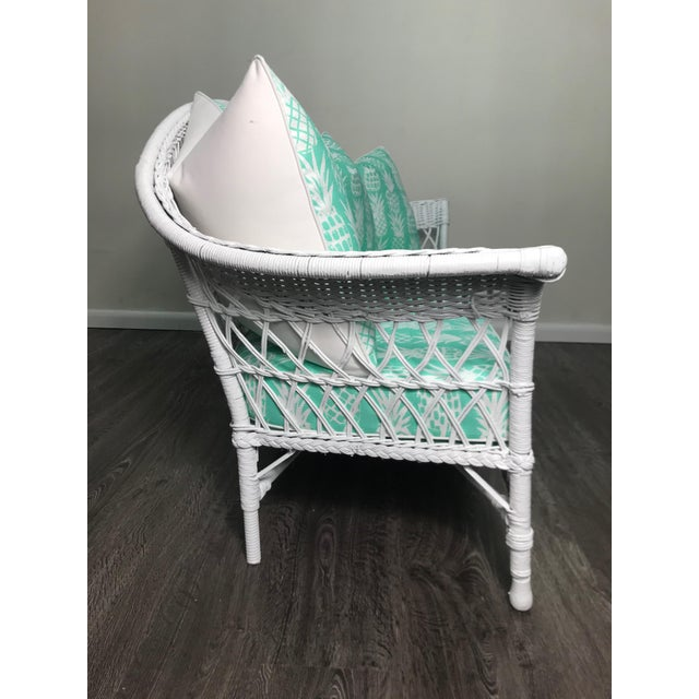Contemporary Vintage Wicker Loveseat in White Lacquer With Cushion Pillows in Aqua Pineapple For Sale - Image 3 of 7