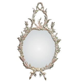 Hollywood Regency Italian Florentine Silver Gilt Wood Mirror For Sale