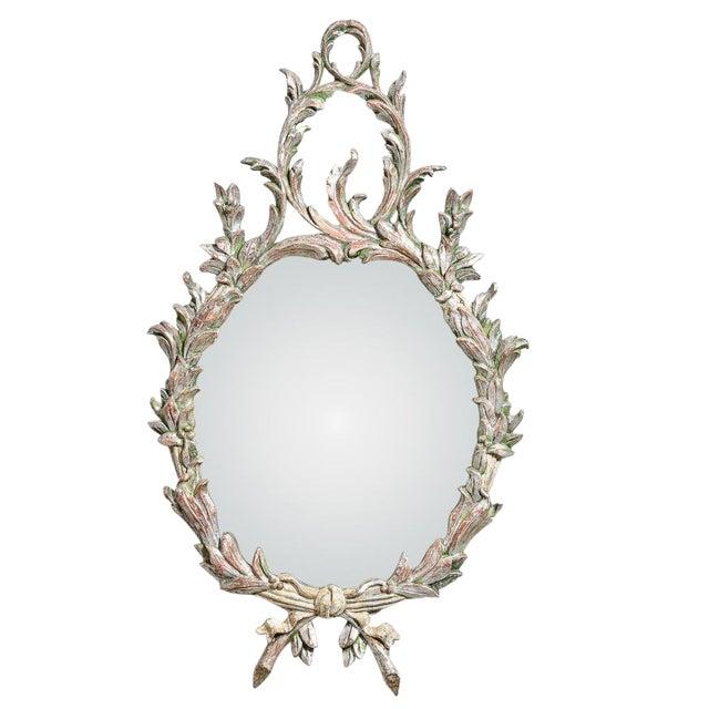 Hollywood Regency Italian Florentine Silver Gilt Wood Mirror For Sale