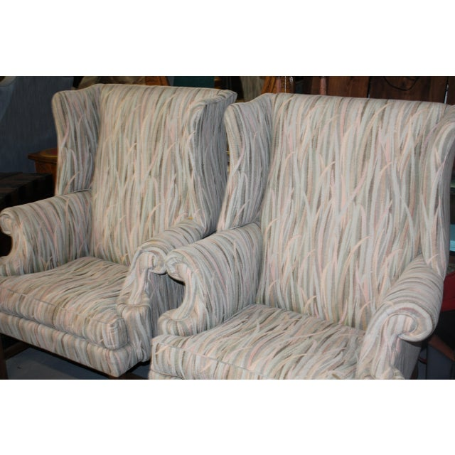 Americana Vintage Mid Century Reed Wingback Chairs- A Pair For Sale - Image 3 of 4