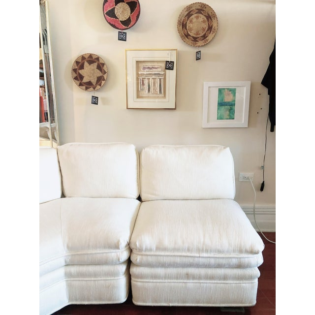 Sherrill Furniture Vintage 1984 White Sherrill Sectional Sofa For Sale - Image 4 of 11
