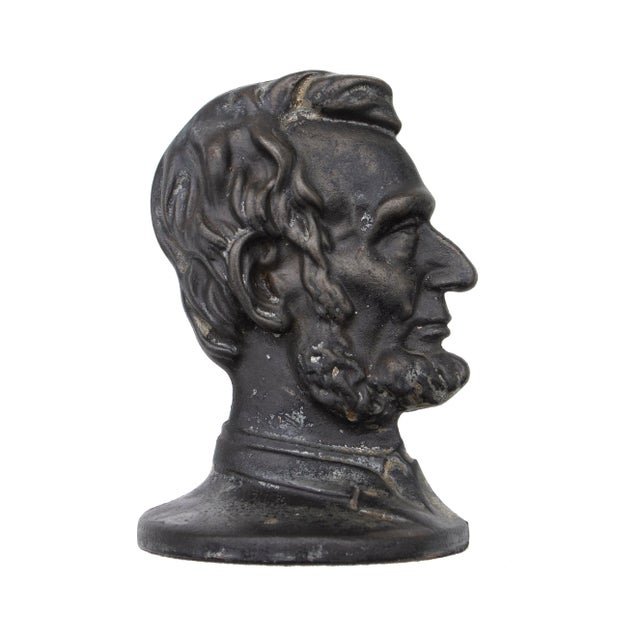 1960s Vintage Cast Iron Abraham Lincoln Bookend For Sale - Image 5 of 5