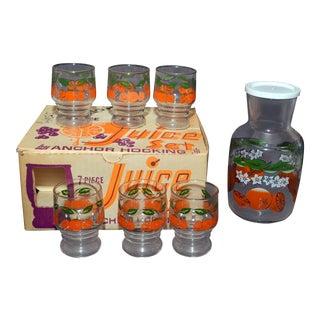 Anchor Hocking Orange Juice Pitcher & Glasses - Set of 7