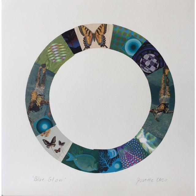 "Josette Urso Urso Contemporary Collage ""Blue Glow"" For Sale - Image 4 of 5"