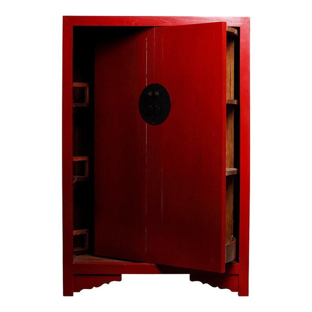 Asian Antique Style Chinese Red Lacquered Liquor Cabinet with Revolving  Hidden Panel For Sale - Image - Antique Style Chinese Red Lacquered Liquor Cabinet With Revolving Hidden  Panel