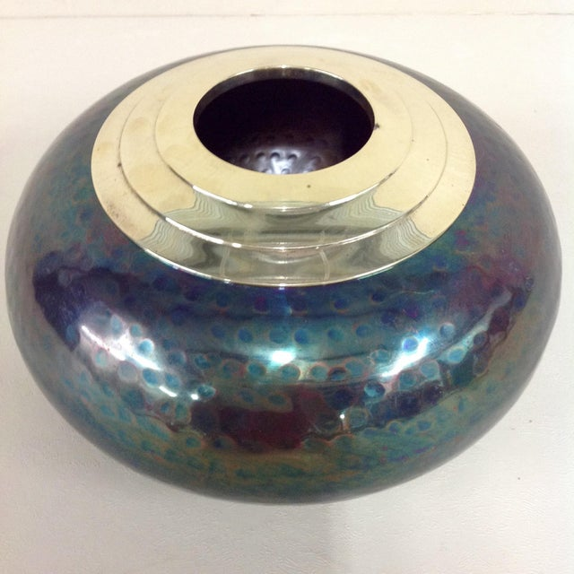 Iridescent Mixed Metal Vase For Sale - Image 5 of 8