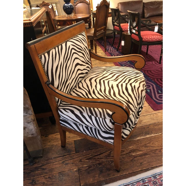 1980s Vintage Printed Zebra Cowhide Upholstery Chair For Sale In Philadelphia - Image 6 of 9