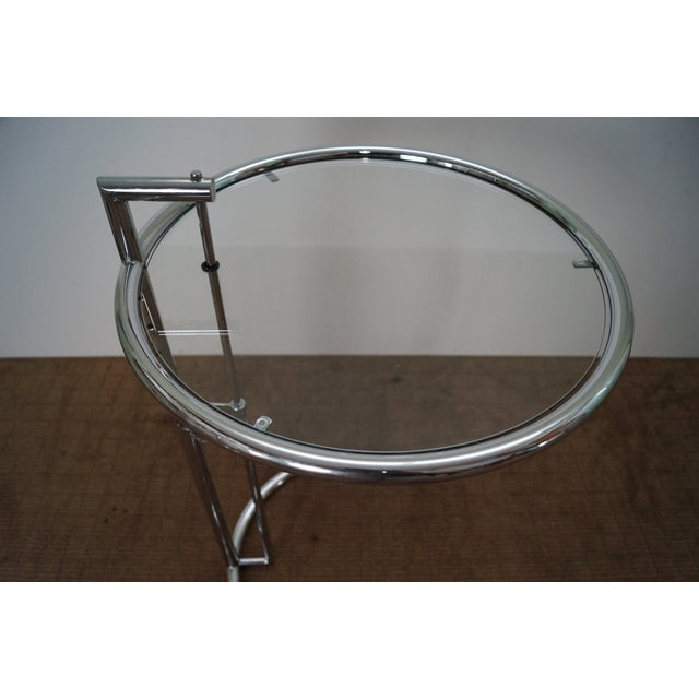 Silver Eileen Gray Adjustable Chrome & Glass Side Table For Sale - Image 8 of 10