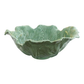 A Large-Scaled American Rookwood 1940's Art Pottery Celadon Glazed Cabbage-Leaf Bowl For Sale