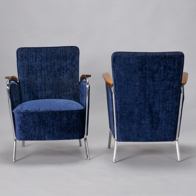 Bauhaus Pair of Bauhaus Steel and Wood Club Chairs For Sale - Image 4 of 10