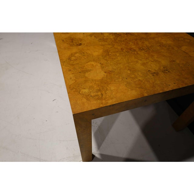 Milo Baughman Olivewood Burl Parsons Dining Table For Sale - Image 11 of 13