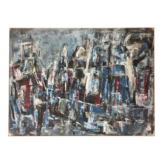 Abstract Painting Oil on Paper by Lida Giambastiani San Francisco Cityscape 1950's