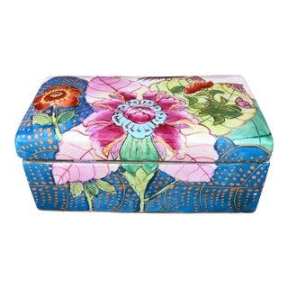 Chinese Tobacco Leaf Porcelain Lidded Box For Sale