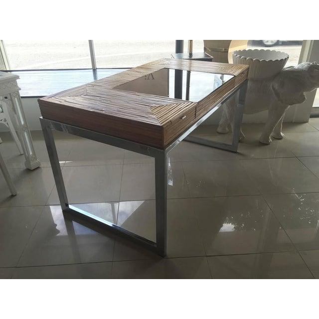 Milo Baughman Bamboo & Chrome Desk - Image 3 of 11