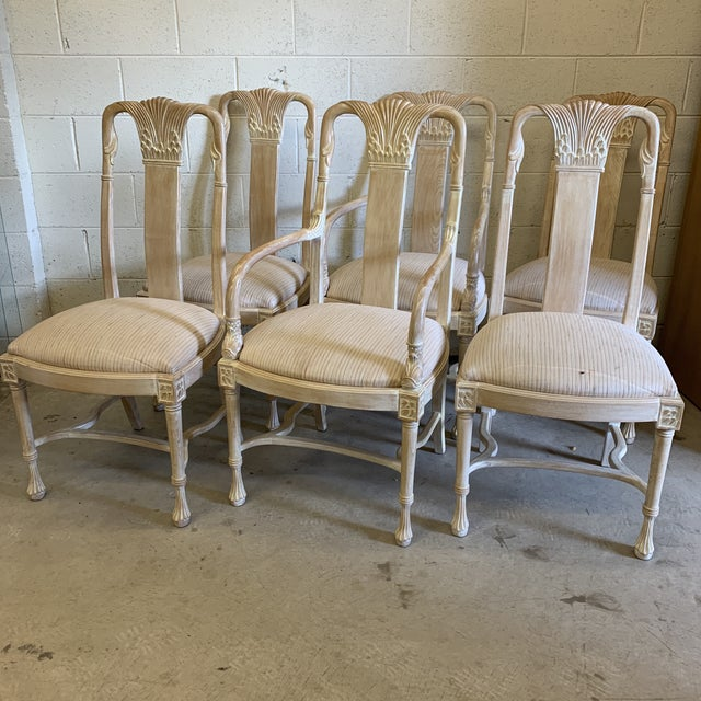 Bleached Wood Hand Carved Dining Chair's-A Set of 6 For Sale - Image 13 of 13
