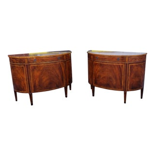 Pair 20th Century Baker Furniture Inlaid & Banded Mahogany Demilune Commode Cabinets For Sale