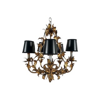 Italian Gilt Leaf Chandelier For Sale