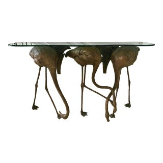 Bronze Flamingos Console Table For Sale