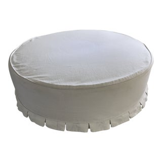 Shabby Chic Cisco Brother's Round Pleated Slip Cover Ottoman For Sale