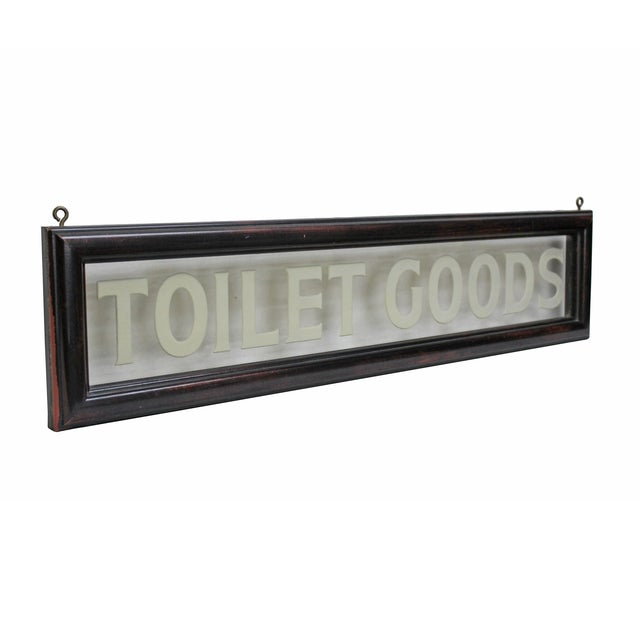 "Vintage Etched Glass ""Toilet Goods"" Sign - Image 3 of 3"