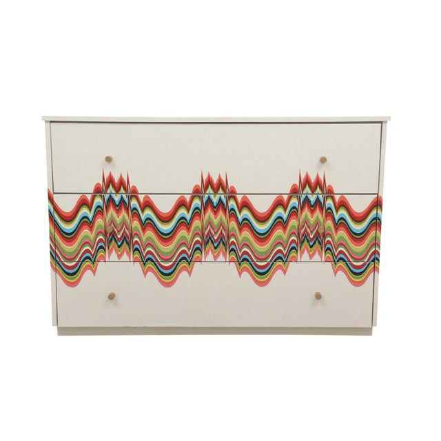 1960s Boho Chic Dresser Wrapped in Technicolor Fabric For Sale