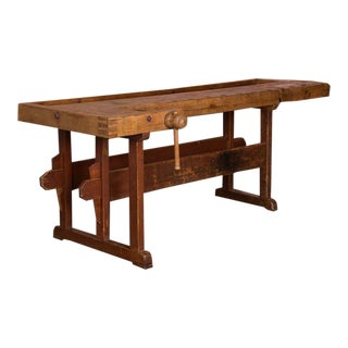 Industrial Style Antique Hungarian Carpenter's Workbench For Sale