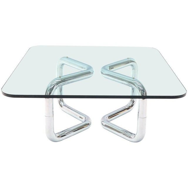 Rounded Corners Square Coffee Table on Thick Bent Tube Chrome Base For Sale - Image 13 of 13