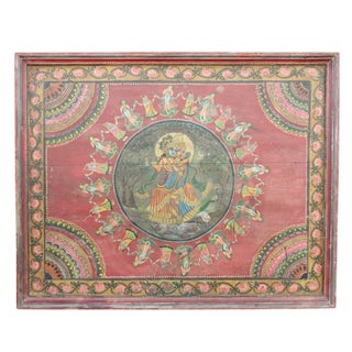 Vintage Hand-Painted Krishna Wooden Panel For Sale