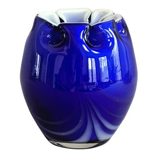Cobalt Blue Free Form Art Glass Vase, 1980s For Sale