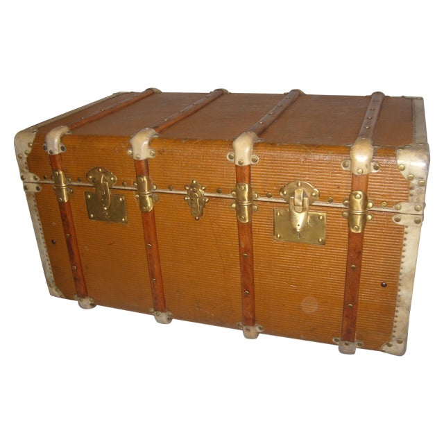 French Wood, Vellum & Leather Trunk - Image 1 of 10