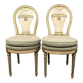 Vintage Mid Century Maison Jansen Louis XVI Montgolfier Balloon Chairs - Pair For Sale